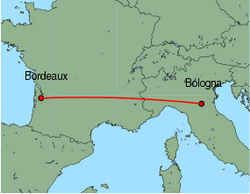 Map of route from Bologna(GuglielmoMarconi) to Bordeaux