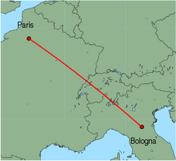 Map of route from Bologna(GuglielmoMarconi) to Paris(Beauvais)