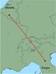 Map of route from Bologna(GuglielmoMarconi) to Brussels(Charleroi)