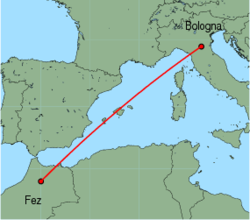 Map of route from Fez to Bologna (Guglielmo Marconi)