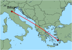 Map of route from Bologna (Guglielmo Marconi) to Kos