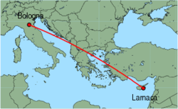 Map of route from Bologna (Guglielmo Marconi) to Larnaca