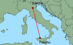Map of route from Palermo to Bologna (Guglielmo Marconi)