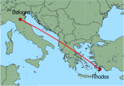 Map of route from Bologna (Guglielmo Marconi) to Rhodos