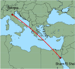 Map of route from Bologna (Guglielmo Marconi) to Sharm El Sheikh