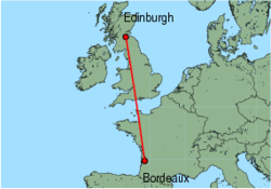Map of route from Edinburgh to Bordeaux