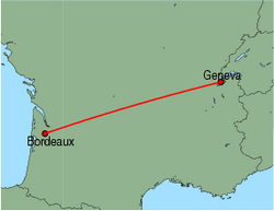 Map of route from Bordeaux to Geneva