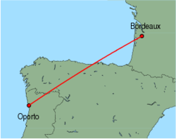 Map of route from Oporto to Bordeaux