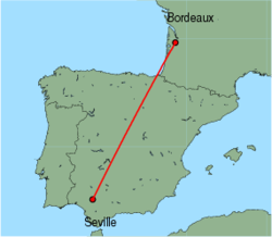 Map of route from Seville to Bordeaux
