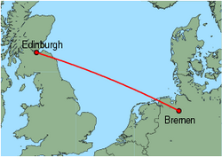 Map of route from Edinburgh to Bremen
