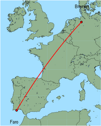 Map of route from Faro to Bremen