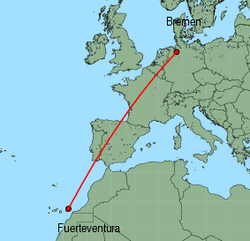 Map of route from Fuerteventura to Bremen