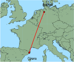 Map of route from Girona to Bremen