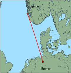 Map of route from Haugesund to Bremen