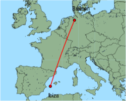 Map of route from Ibiza to Bremen