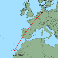 Map of route from Las Palmas to Bremen