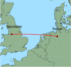 Map of route from Manchester to Bremen