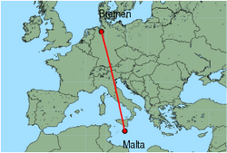 Map of route from Malta to Bremen