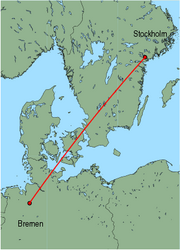 Map of route from Stockholm (Skavsta) to Bremen