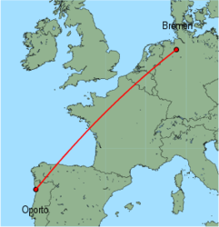 Map of route from Oporto to Bremen