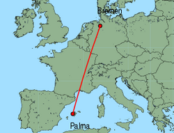 Map of route from Palma to Bremen