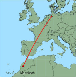 Map of route from Marrakech to Bremen