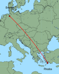 Map of route from Bremen to Rhodos