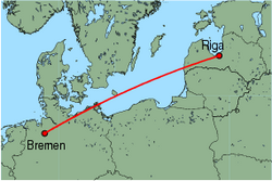 Map of route from Riga to Bremen
