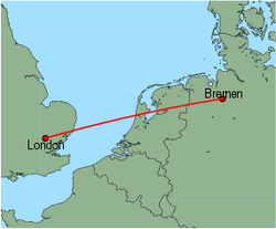 Map of route from London (Stansted) to Bremen