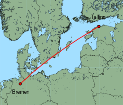 Map of route from Bremen to Tallinn