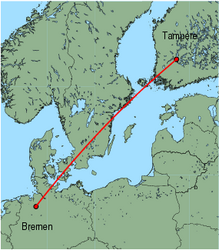 Map of route from Tampere to Bremen