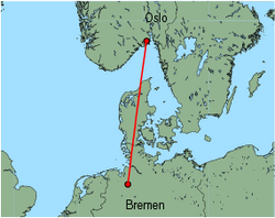 Map of route from Oslo (Torp) to Bremen