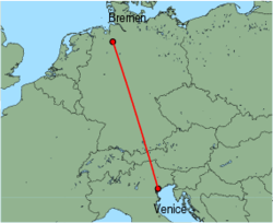Map of route from Venice (Marco Polo) to Bremen