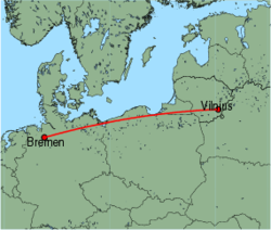 Map of route from Vilnius to Bremen