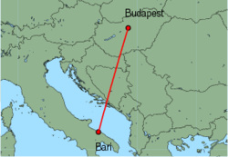 Map of route from Budapest to Bari