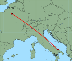 Map of route from Paris(CharlesdeGaulle) to Bari