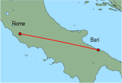 Map of route from Bari to Rome(Ciampino)