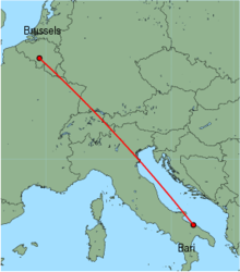 Map of route from Bari to Brussels (Charleroi)
