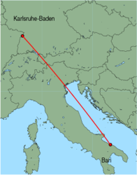 Map of route from Bari to Karlsruhe-Baden