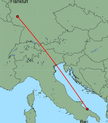 Map of route from Frankfurt (Hahn) to Bari