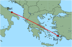 Map of route from Bari to Kos