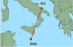 Map of route from Malta to Bari