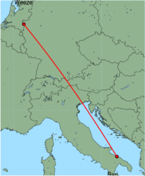 Map of route from Bari to Weeze