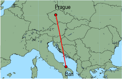 Map of route from Prague to Bari