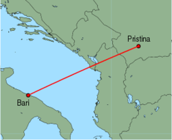 Map of route from Pristina to Bari