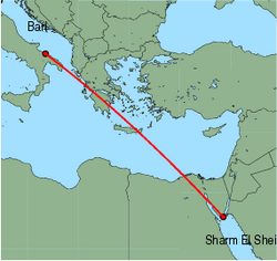Map of route from Bari to Sharm El Sheikh