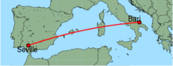 Map of route from Seville to Bari