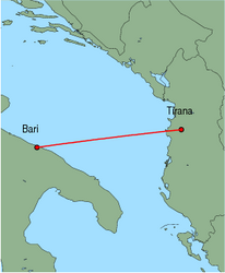 Map of route from Tirana to Bari