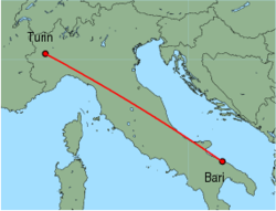 Map of route from Turin to Bari