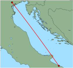 Map of route from Venice (Treviso) to Bari